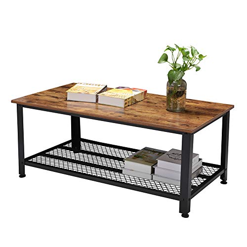 - Rustic Coffee Table, Industrial Sofa Table Vintage Cocktail Wood End Table with Storage Shelf and Metal Frame for Home Living Room, Easy Assembly