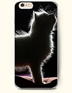 iPhone 6 Case 4.7 Inches White Cat Stretching - Hard Back Plastic Phone Cover OOFIT Authentic