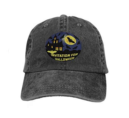 Classic Cotton Dad Hat Adjustable Plain Cap Custom Denim Baseball Cap for Adult Invitation Halloween Party Card Mix Bats Castle Moon Dark ba Black -