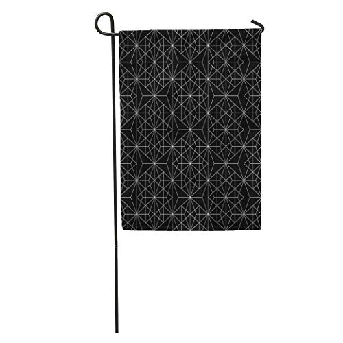 Semtomn Garden Flag Pattern Modern Sacred Geometry Black and White Abstract Monochrome Graphic Home Yard House Decor Barnner Outdoor Stand 28x40 Inches Flag ()