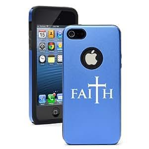 "Apple iPhone 6 Plus (5.5"") Aluminum Silicone Dual Layer Hard Case Cover Faith Cross (Blue)"