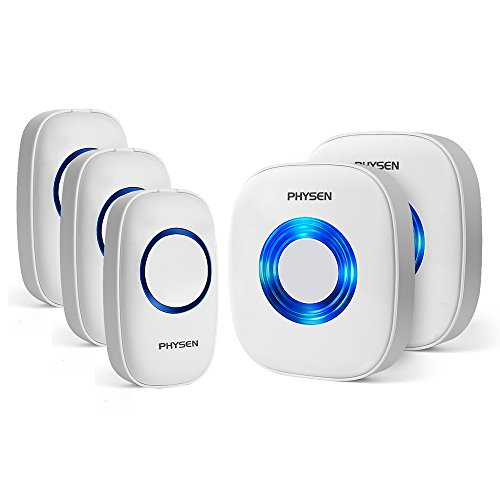 Price comparison product image Physen Model CW Wireless Doorbell kit with 3 Push Buttons and 2 Plugin Receivers Operating at 1000ft Range,4 Volume Levels and 52 Melodies Chimes,No Batteries Required for Receiver