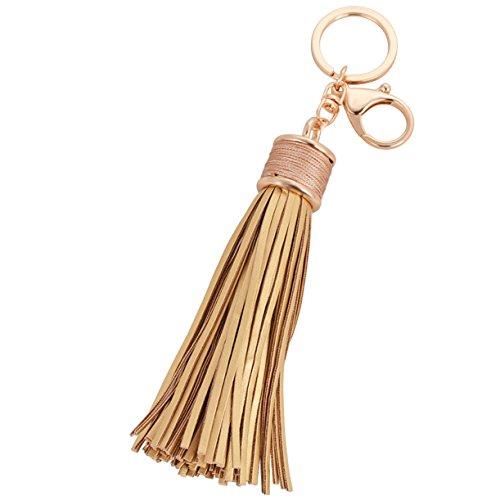 (Elesa Miracle Girl Women Leather Tassel Keychain, Handbag Wallet Accessories, Car Key Chain Rings (Gold))