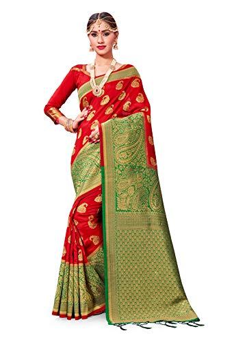 - Sarees for Women Banarasi Art Silk Woven Saree l Indian Wedding Traditional Wear Sari and Blouse