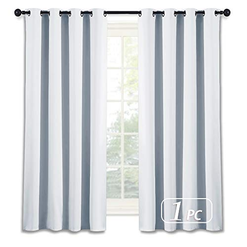 NICETOWN Room Darkening Curtain for Bedroom - (Greyish White/Silver Grey Color) Solid Thermal Insulated Blind Room Darkening Drape/Drapery for Windows,52x63-Inch, One Pack ()