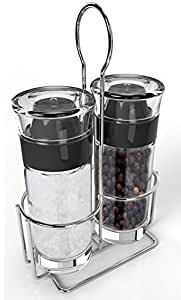 Royal Salt and Pepper Shaker Set with Stainless Steel Stand
