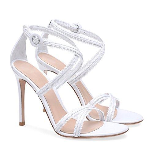 Women's Black And White Cross Belt High Heel Sandals Girls Simple Cozy Fashion High Heels,Black,43 White
