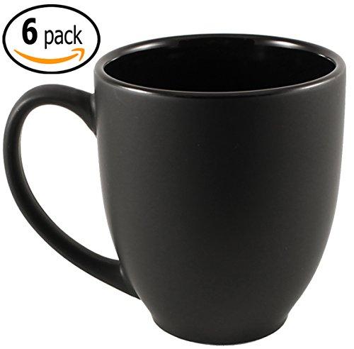 Glazed Ceramic Finish - ITI Ceramic Bistro Hilo Coffee Mugs with Pan Scraper, 14 Ounce (6-Pack, Black)