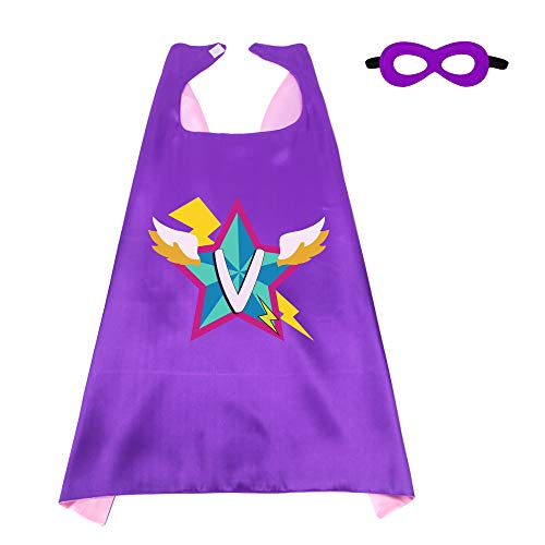 Kids Superhero Cape Mask for Girls with 26 Initial Letters Hero Party Supplies -