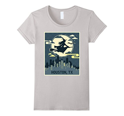 Womens Houston Texas Witch Halloween Night T-shirt Large Silver (Houston Halloween Costumes)