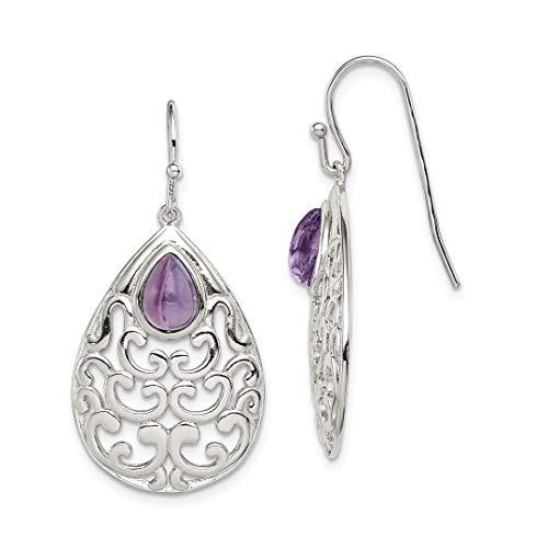 Amethyst Drop Hook Earrings (925 Sterling Silver Purple Amethyst Teardrop Shepherd Hook Drop Dangle Chandelier Earrings Fine Jewelry For Women Gift Set)