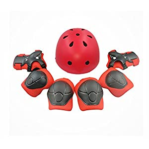 Child Multi-Sport Helmet With Knee Pads Elbow Wrist Protection Set for Skateboard Cycling Skate Scooter Red
