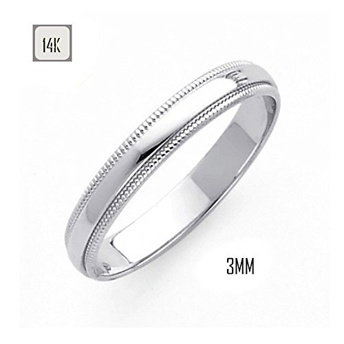 14K White Gold 3MM Traditional Classic Wedding Band with Milgrain Edging (3 Mm Edging)