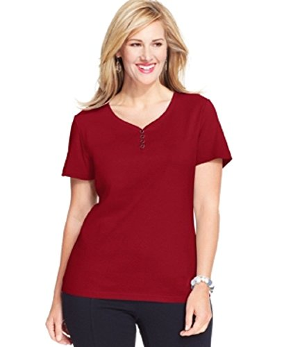 Karen Scott Plus Size Short-Sleeve Henley Cotton Top 3x Red