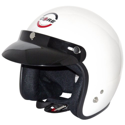 Core Vintage Open Face Helmet (White, Medium)