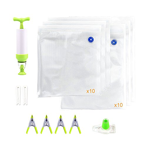 Locisne Sous Vide Bags Kit for Anova Cookers, 20 BPA Free Food Vacuum Sealed Bags in 2 Sizes, 1 Hand Pump, 4 Holding Clips, 2 sealing clips, Reusable,Practical for Food Storage and Cooking by locisne