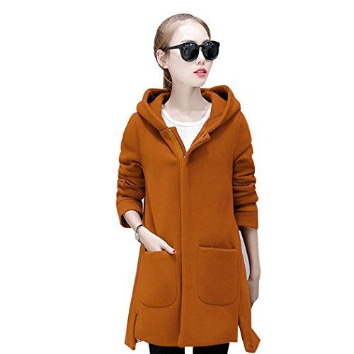 Women Coat,Laimeng Long Sleeve Autumn Winter Fashion Loose Pullover Coat (Yellow, M)