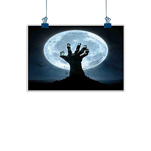 Wall Art Print Home Decor Halloween,Realistic Zombie Earth Soil Full Moon Bat Horror Story October Twilight Themed,Blue Black for Boys Room Baby Nursery Wall Decor Kids Room Boys Gift 28