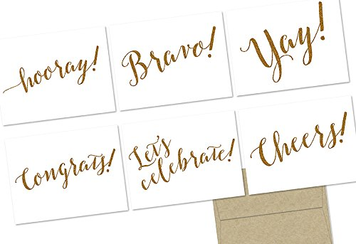 (Glitzy Congrats! - 36 Note Cards - 6 Designs - Blank Cards - Kraft Envelopes Included)