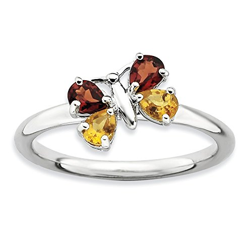 Stackable Pear Shape Garnet and Citrine Gemstone Butterfly Ring - Sz 7