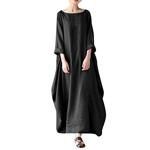 JESPER Women Crew Neck Loose Casual Solid Cotton Baggy Oversized Long Maxi Tunic Dress Black by JESPER