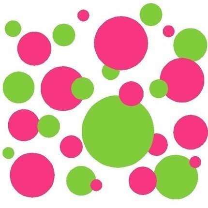 (Set of 130 Hot Pink and Lime Green Polka Dots Wall Graphic Vinyl Lettering Decal Stickers Wall Decal)