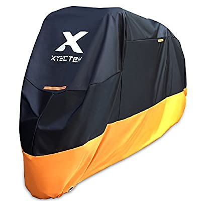XYZCTEM Motorcycle Cover – All Season Waterproof Outdoor Protection – Precision Fit for 100 inch Tour Bikes, Choppers and Cruisers – Protect Against Dust, Debris, Rain and Weather(XXL,Black& Orange)