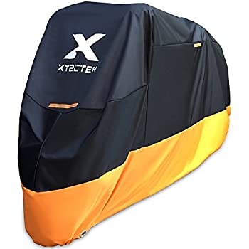 XYZCTEM Motorcycle Cover – All Season Waterproof Outdoor Protection – Precision Fit for 108 inch Tour Bikes, Choppers and Cruisers – Protect Against Dust, Debris, Rain and Weather(XXL,Black& Orange)