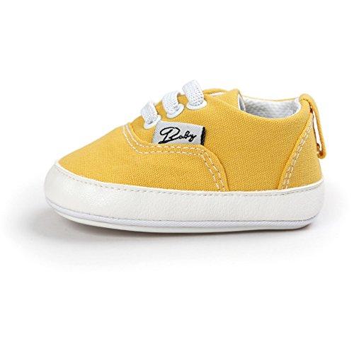 BOBORA Bebe Ninos Ninas Primera Zapatos Color Solido Antideslizantes Zapatos Para Caminar amarillo