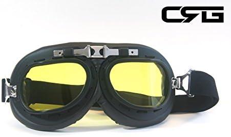 CRG Sports Vintage Aviator Pilot Style Motorcycle Cruiser Scooter Goggle T01 T01BTB Smoke lens black frame