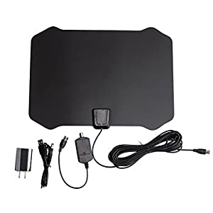 Armix Digital TV HDTV Antenna 1080P Advanced 50 Miles Range Indoor with Detachable Amplifier Signals Booster - 0.02'' thick, USB Power Supply, 16.5Ft Coax Cable (Black)