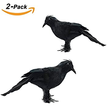 zklklo halloween feathered black crows realistic feathered crows props decor halloween decorations birds set of 2 - Raven Halloween Decorations