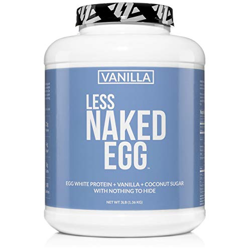 VANILLA LESS NAKED EGG - Non-GMO Egg White Protein Powder from US Farms - 3lb Bulk, No Additives, Paleo, Dairy Free, Gluten Free, Soy Free - 25g Protein, 36 - Protein 100% Egg Optimum