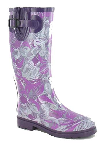 3 Shoes 4 Wellington Welly 8 Ladies Festival Women's Waterproof Leaves Boots Size 6 UK Fashion 7 Purple Wellies 5 Bpnvq