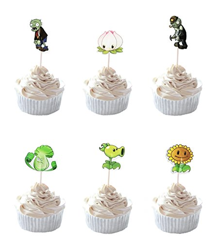 Party Hive 24pc PVZ Plant Zombies Cupcake Toppers for Birthday Party Event Decor ()