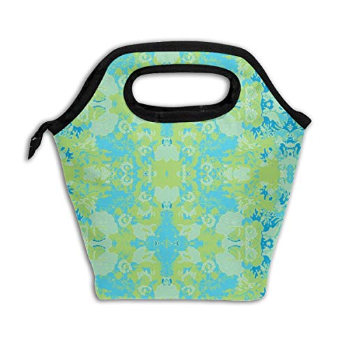 Blossoms Of Blue_943 Lunch Bag Insulated Lunch Box Reusable Lunch Tote Cooler Organizer Bag Lunch Bags for Women,Men and Kids Adults