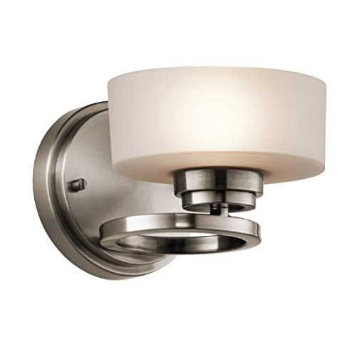 Kichler Lighting 45564CLP Aleeka 1LT Wall Sconce, Classic Pewter Finish with Etched Opal Glass - Etched Opal Glass Shade