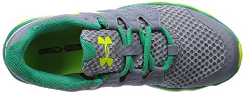 Under Armour UA W MICRO G OPTIMUM - Zapatillas de running de material sintético para mujer gris - Grau (Steel/Emerald Lake/Yellow Ray 036)