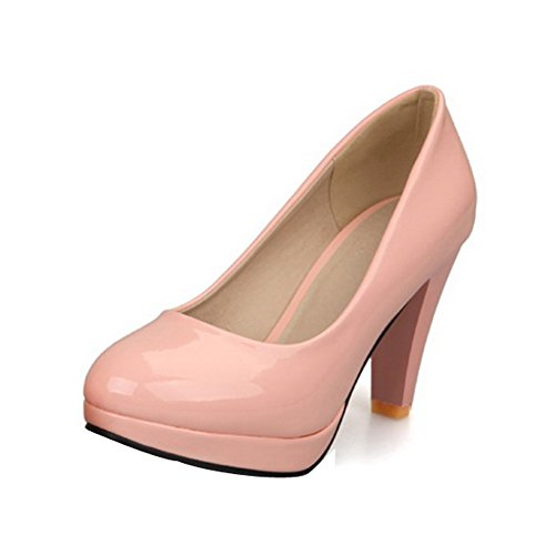 Balamasa Womens Pull On High Heels Solid Pumps Shoes Pink BFH4O