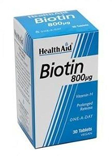 Biotina 30 comprimidos de 800 mcg de Health Aid