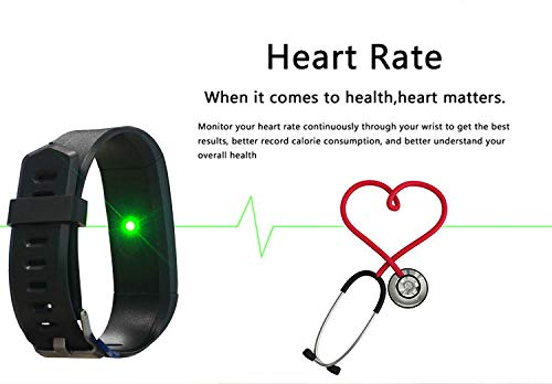 Burn-Rate Fitness Tracker Heart Rate Monitor - Smart Watches for Women & Men, Kids Color Smart Watch Fit Bracelet. Reloj Inteligente band Pedometer, Waterproof, Distance Activity bit for Android & iOS by Burn-Rate Fitness 115plus (Image #9)