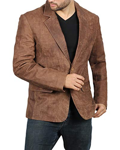Brown Leather Jackets for Men - Genuine Lambskin Mens Leather Jacket | Brown Blazer, XS