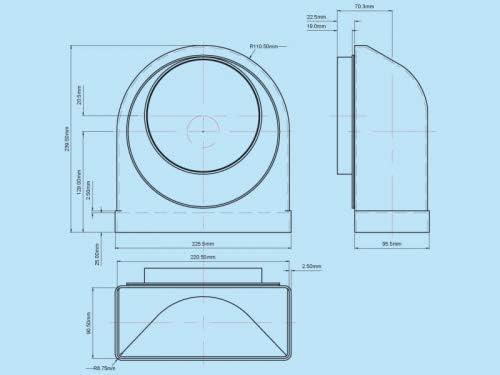 Umlenkst/ück Adapter 90/° PVC flach//eckig  rund System 150 auf /Ø 150