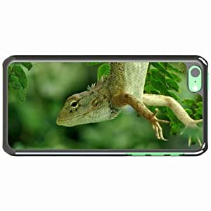 iPhone 5C Black Hardshell Case lizard forest green Desin Images Protector Back Cover