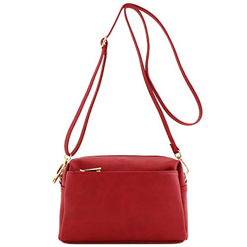 Small Triple Zip Crossbody Bag Red]()