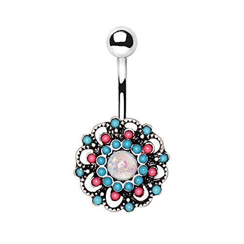 14G Beaded Floral Synthetic Opal Belly Button Ring in 316L Stainless Steel -