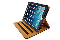 New S-Tech Black and Tan Apple iPad 2 3 4 Generation Soft Leather Wallet Smart Cover with Sleep / Wake Feature Flip Case