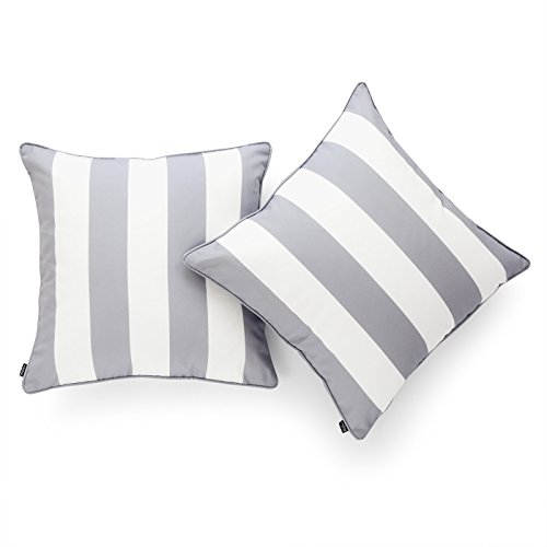 Hofdeco Decorative Throw Pillow Cover INDOOR OUTDOOR WATER RESISTANT Canvas Modern Grey Stripes 18