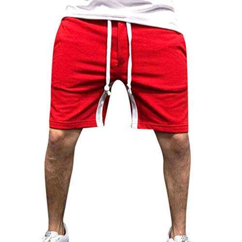 Men Men's Premium Relaxed Fit Twill Cargo Short Pants Plus Size Summer Joggers Pocket Sport Trousers Red ()
