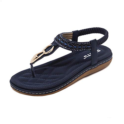 (Fnnetiana Women Elastic Strappy Thong Ankle Strap Sandals Bohemian Slip on Flip Flops Shoes (US 9, Blue) )